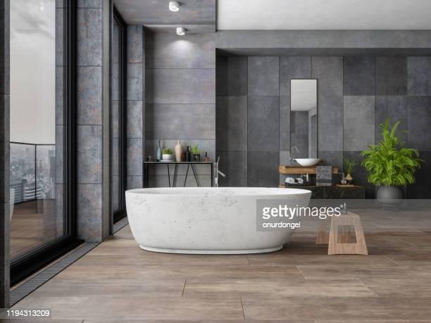 badkamer in nieuw luxe huis - badkamer huis stockfoto's en -beelden