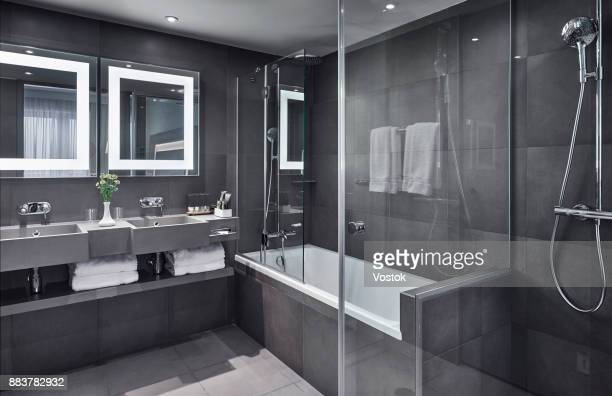 bathroom in the hotel room - bathroom stock photos and pictures