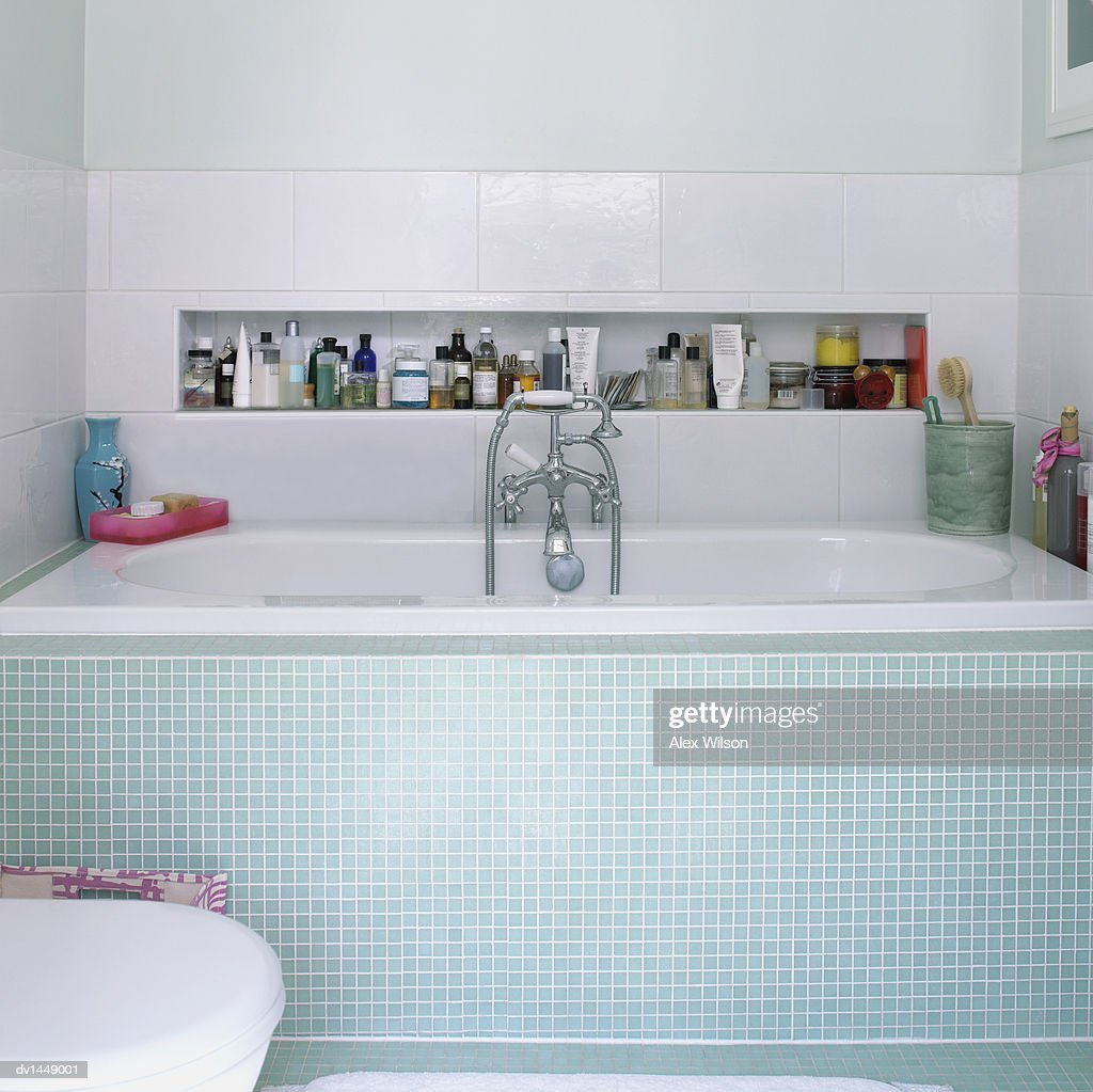 Bathroom Interior Showing Tiled Bath And Shower Stock Photo | Getty ...