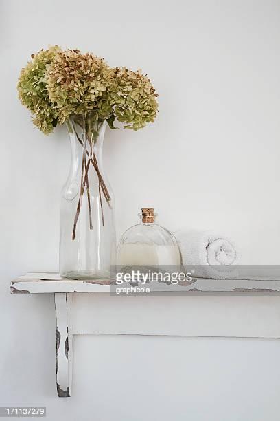 Bathroom rustic shelf witl products