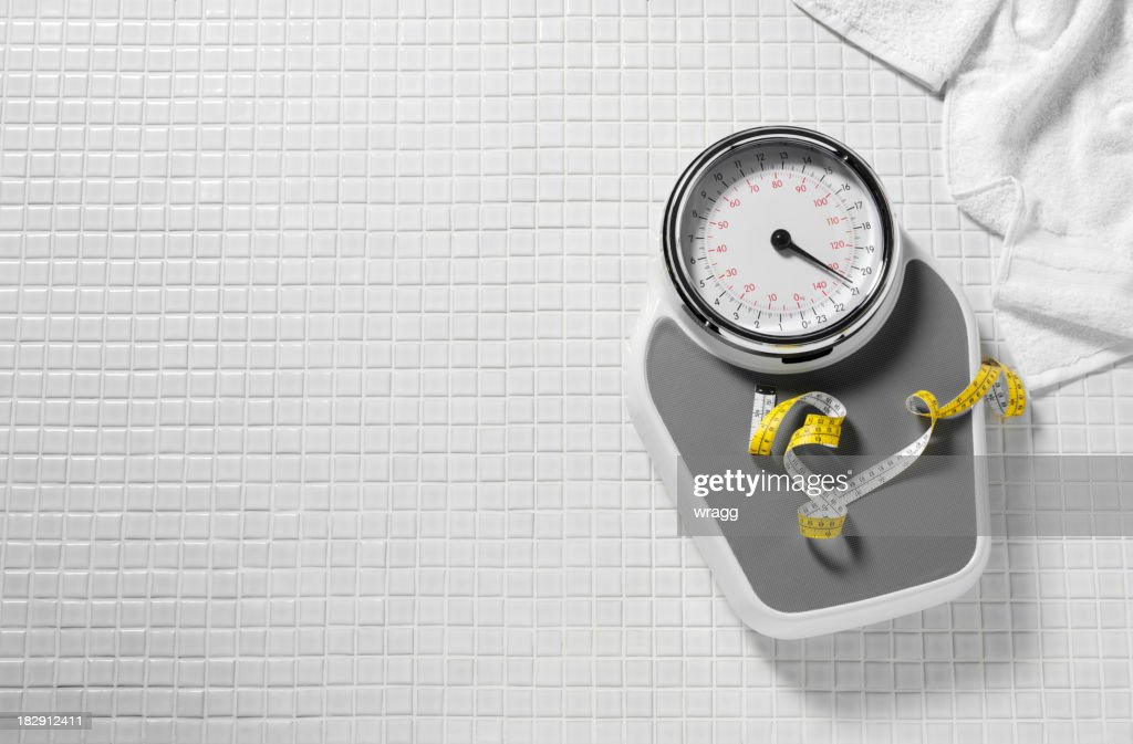 Bathroom Scales and Tape Measure : Stock Photo