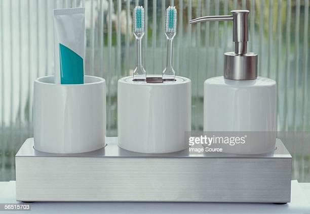A bathroom shelf