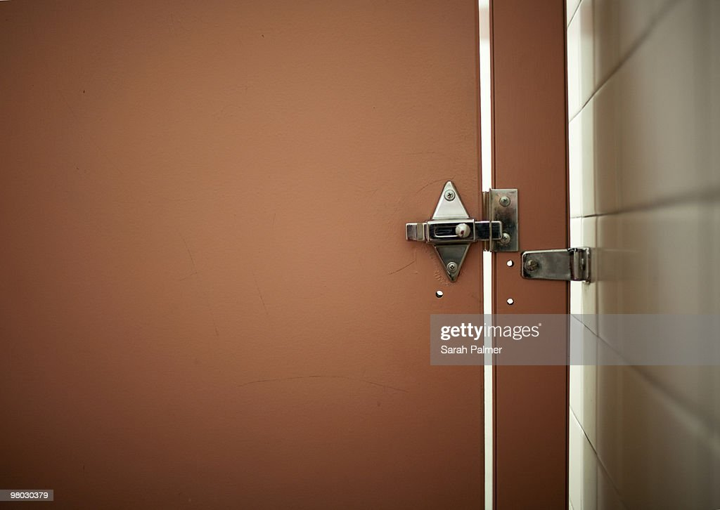 bathroom stall door. Bathroom Stall Door And Lock : Stock Photo O
