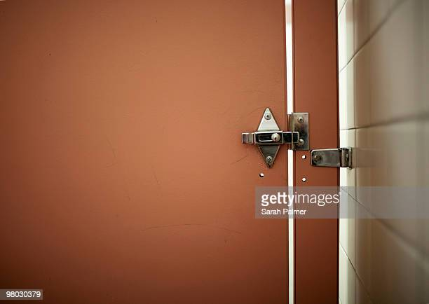 bathroom stall door and lock - public restroom stock pictures, royalty-free photos & images