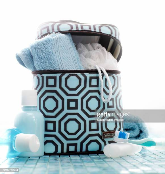 bathroom supplies and fashionable bag - toiletries stock pictures, royalty-free photos & images