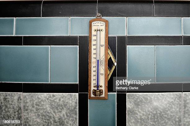 A bathroom thermometer used to test the bath water in Pineheath house on September 4 2013 in Harrogate England The untouched 40bedroom house belonged...
