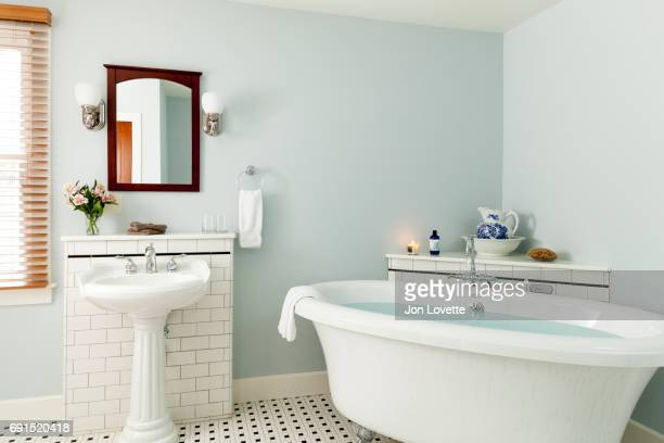 Bathroom with free standing tub in blue and white colors