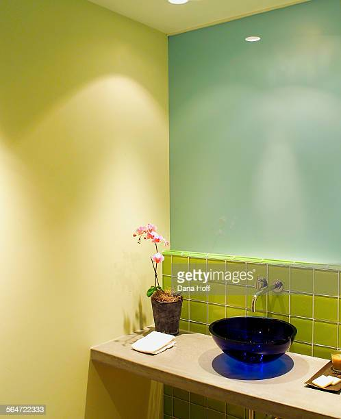 Bathroom with green glass tile