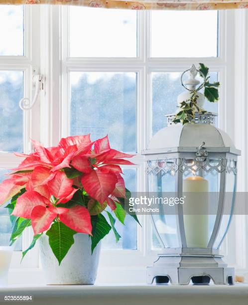 Bathroom with poinsettia and candle holder