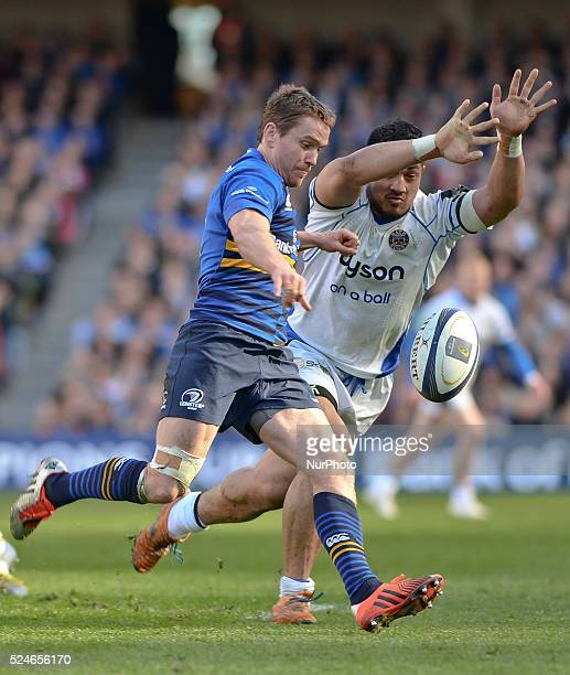 Bath's Alafoti Faosiliva succesfully challenges Leinster's Eoin Reddan during European Champions Cup QuarterFinal meeting between Leinster Rugby and...