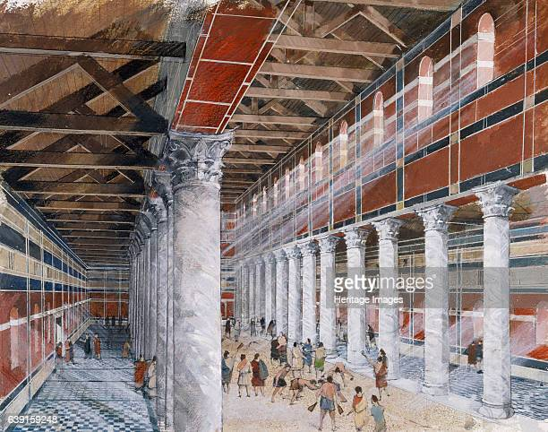 Baths basilica Wroxeter Roman City c1st3rd century Wroxeter Roman City Shropshire Reconstruction drawing of the interior of the baths basilica as it...