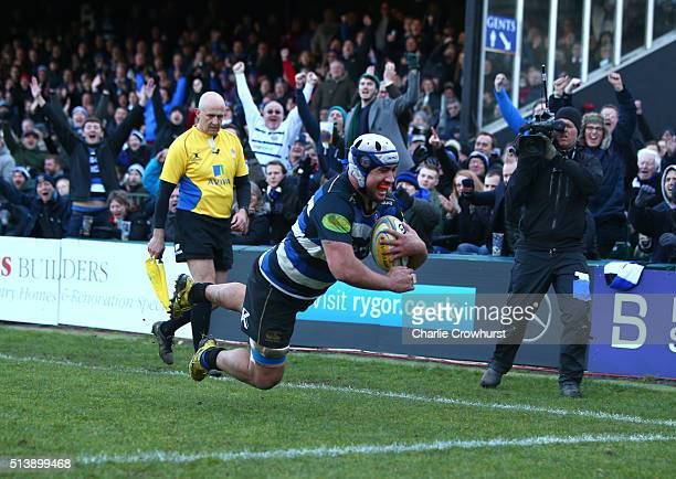 Bath's Leroy Houston dives over the line to score a try during the Aviva Premiership match between Bath Rugby and London Irish at The Recreation...