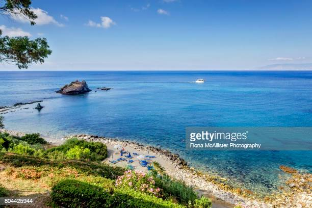 baths of aphrodite beach vista, akamas peninsula, cyprus - cyprus island stock pictures, royalty-free photos & images