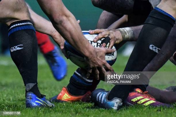 TOPSHOT Bath's players fights for the ball during the European Champions Cup rugby union match between Toulouse and Bath on January 20 2019 at the...
