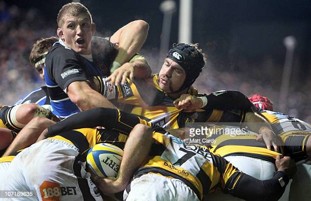 Bath's Stuart Hooper looks for the ball during the Aviva Premiership game between Bath and London Wasps at the Recreation Ground on November 27 2010...