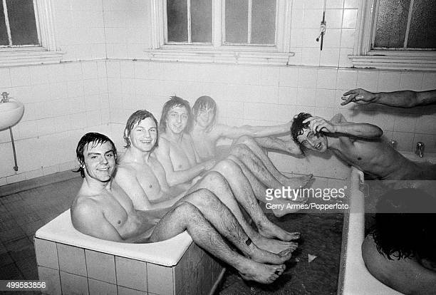 Bath-time for some of the Aston Villa youth team in the dressing-room at Villa Park after their victory in the FA Youth Cup 4th Round Replay against...