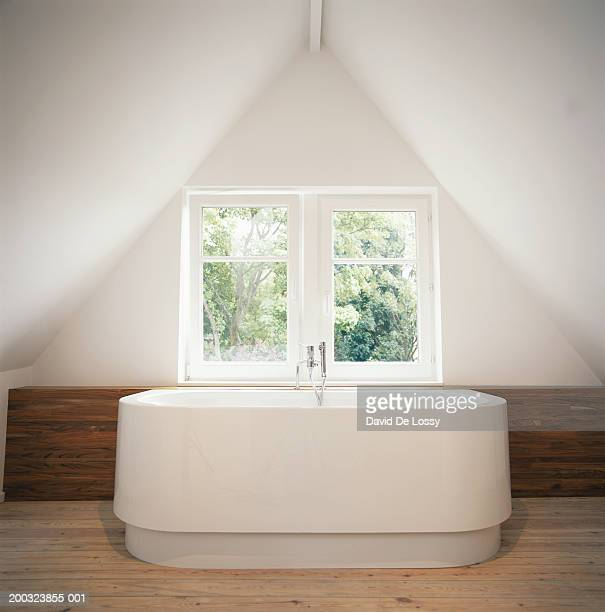 Bathtub by window