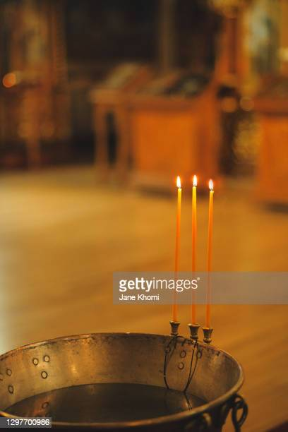 bathtub for baptism and candles - lord bath stock pictures, royalty-free photos & images
