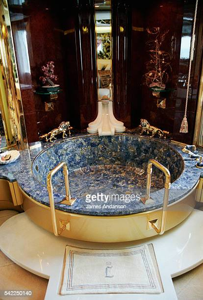 Bathtub of one of the opulent bathrooms aboard the New Horizon L a 197foot yacht owned by Prince Leo of Lignac The Dutch millionaire travels aboard...