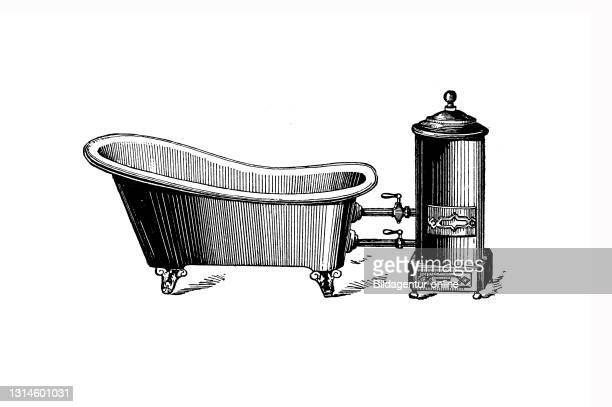 Bathtub Oven / Badewanne mit Ofen, Historisch, historical, digital improved reproduction of an original from the 19th century / digitale Reproduktion...
