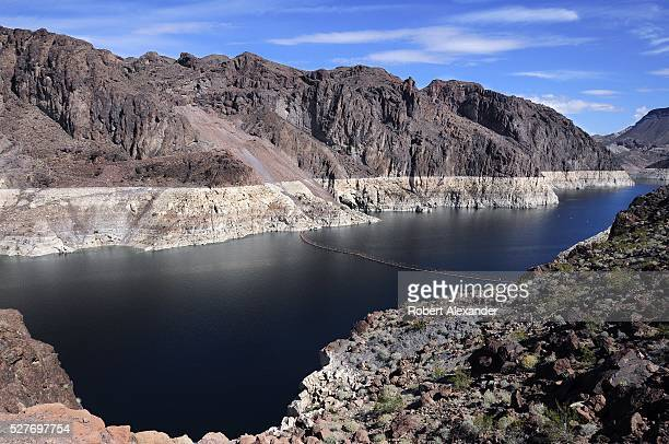A 'bathtub ring' surrounds Lake Mead near Hoover Dam which impounds the Colorado River at the ArizonaNevada border on March 30 2016 The white ring...