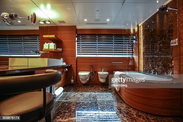 A bathtub sits inside a bathroom aboard the 253 feet long superyacht Silver Fast during the Superyacht Miami boat show at Island Gardens Deep Harbour...