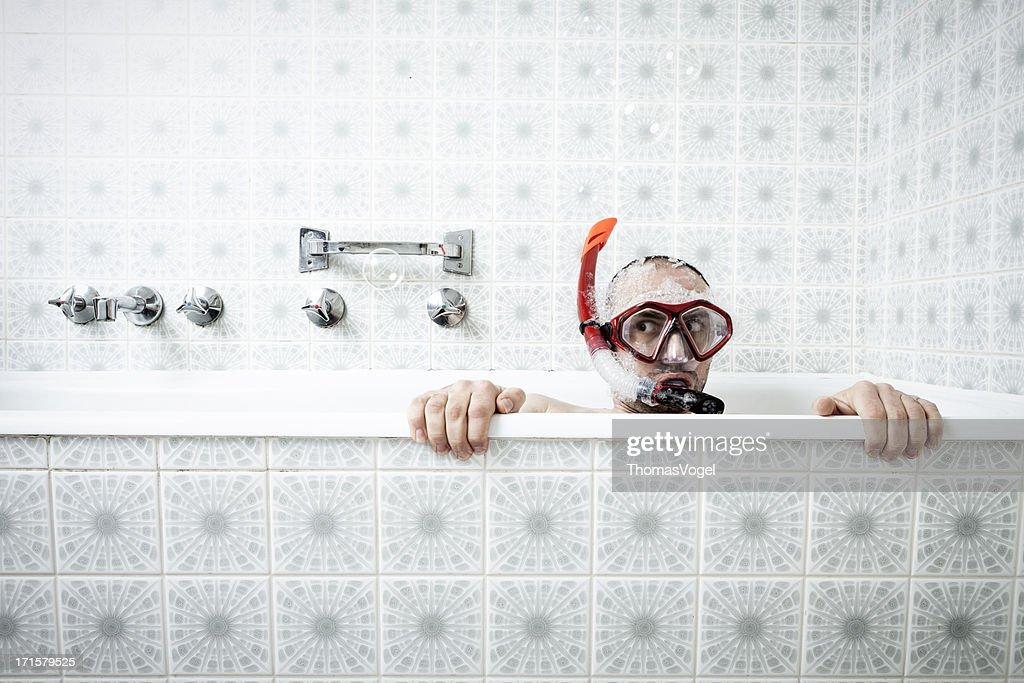 Badewanne und Schnorcheln : Stock-Foto