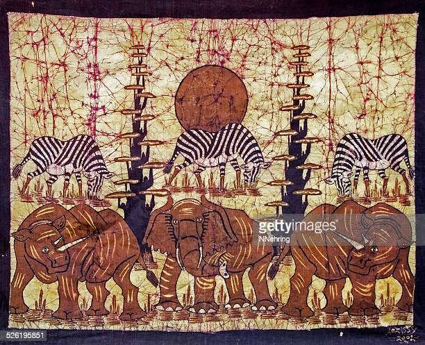 batik with elephants and zebras from Mozambique