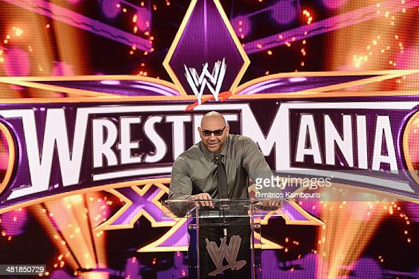 Batista attends the WrestleMania 30 press conference at the Hard Rock Cafe New York on April 1 2014 in New York City