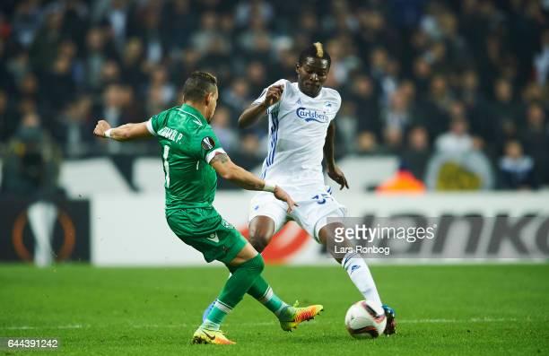 Batista Pimenta of PFC Ludogorets Razgrad and Aboubakar Keita of FC Copenhagen compete for the ball during the UEFA Europa League Round of 32 second...