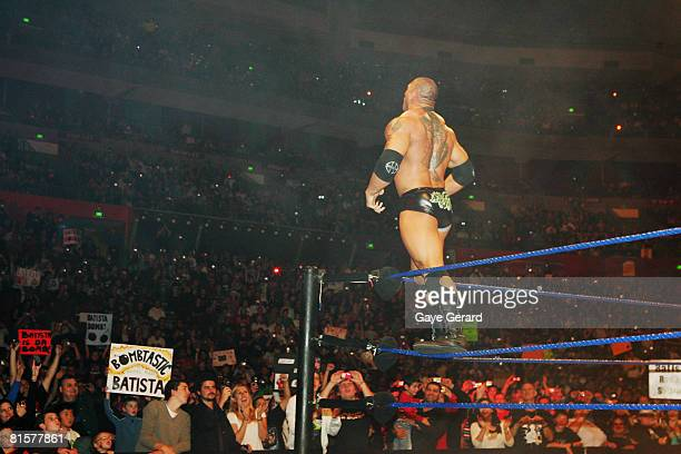 Batista poses in the ring during WWE Smackdown at Acer Arena on June 15 2008 in Sydney Australia