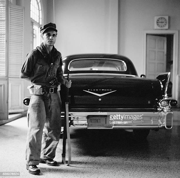 1959 Batista's Cadillac with rebel soldier Havana Cuba