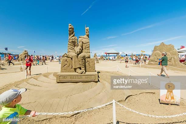 Batman and Joker sand sculpture