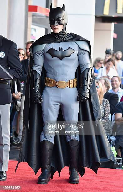 Batman attends a ceremony honoring Batman creator Bob Kane with the 2562nd star on The Hollywood Walk of Fame on October 21 2015 in Hollywood...
