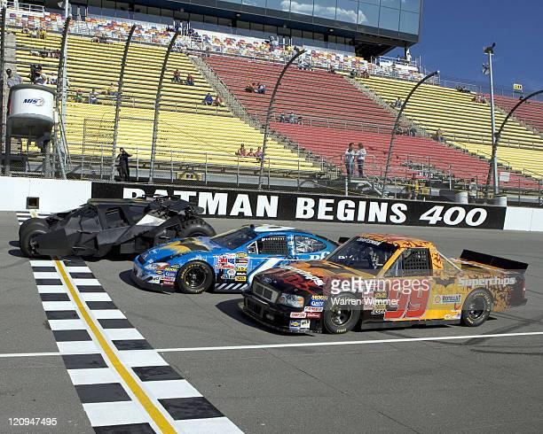 Batman beats Mark Martin and Rickey Craven at the Michigan International Speedway Brooklyn Michigan June 17 2005