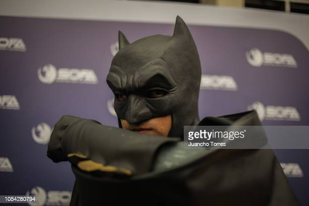 Batman cosplay poses for a photo during SOFA 2018 on October 12 2018 in Bogota Colombia SOFA is one of the largest cosplay festivals in Latin America