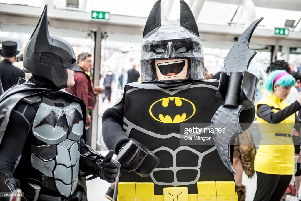 A Batman Cosplayer And Lego In Conversation During Day 3 Of The MCM