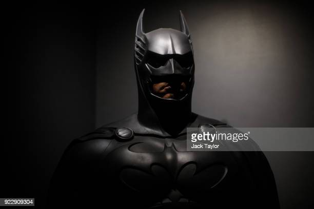 Batman costume from the 1995 Batman Forever film worn by Val Kilmer and designed by Rob Ringwood and Ingrid Ferrin is on display at the DC Comics...