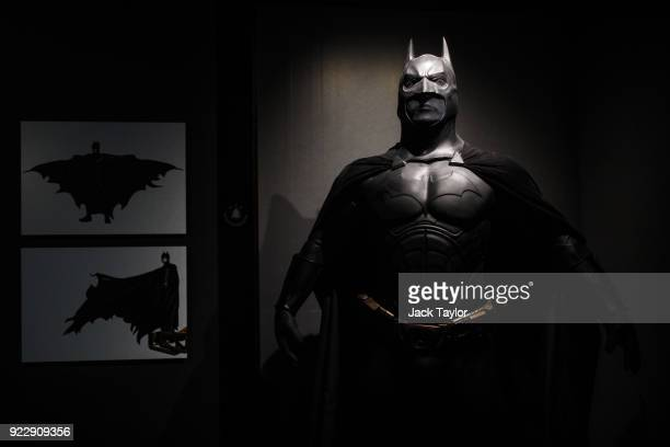 Batman costume from the 2005 Batman Begins film worn by Christian Bale and designed by Lindy Hemming is on display at the DC Comics Exhibition: Dawn...