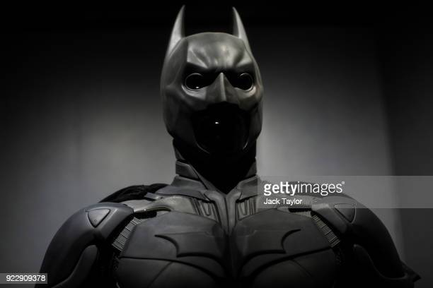 Batman costume from the 2012 Dark Knight Rises film worn by Christian Bale and designed by Lindy Hemming is on display at the DC Comics Exhibition:...