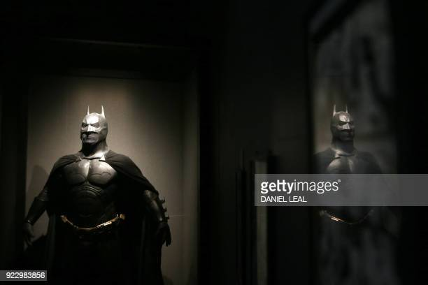 A Batman costume worn by US actor Christian Bale on the movie 'The Dark Knight Rises' 2012 and designed by Lindy Hemming is displayed during a press...