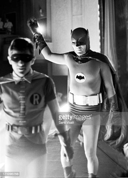 Batman played by Adam West and Robin played by Burt Ward filming on May 101966 in New York New York