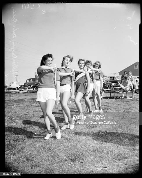 Baton contest 27 March 1954 Pat Shaffer 16 years Louise Ray 6 yearsJanice Jean Bauer 8 yearsBetty Guerrero 11 yearsPeggy Jacobson 14 yearsFrank...