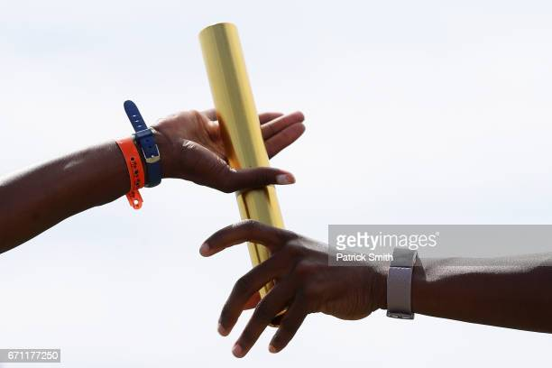 A baton is handed off as athletes practice prior to the IAAF / BTC World Relays Bahamas 2017 at the Thomas Robinson Stadium on April 21 2017 in...