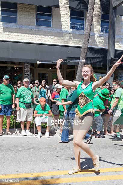 baton twirler at the st. patrick's day parade - drum majorette stock pictures, royalty-free photos & images