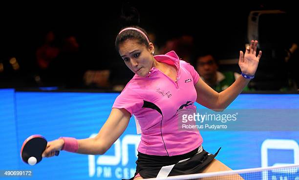 Batra Manika of India competes against Khetkhuan Tamolwan of Thailand during Women's singles second round match of the 22nd 2015 ITTF Asian Table...