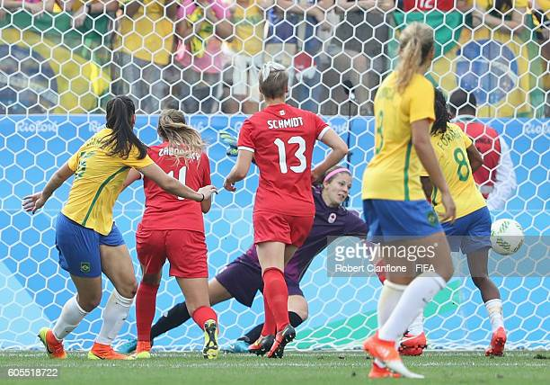 Batriz of Brazil celebrates after scoring a goal during the Women's Football Bronze Medal match between Brazil and Canada on Day 14 of the Rio 2016...