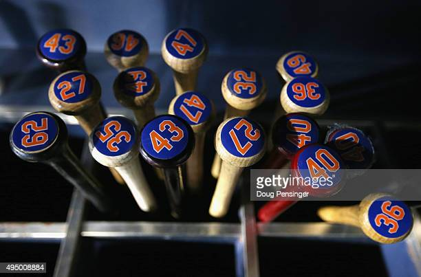 Bats are seen prior to Game Three of the 2015 World Series between the New York Mets and the Kansas City Royals at Citi Field on October 30 2015 in...