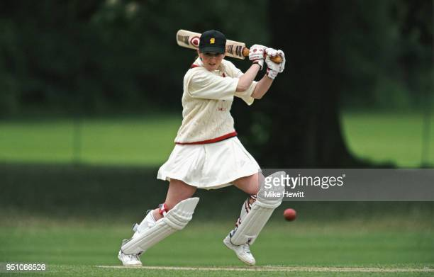Batsman Charlotte Edwards cuts a ball towards the boundary during a match at Lilleshall on May 24 1997 in England
