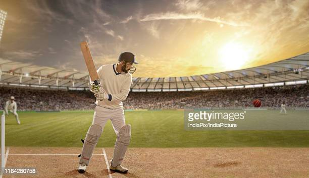 batsman defending a ball during a match in the stadium - cricket field stock pictures, royalty-free photos & images
